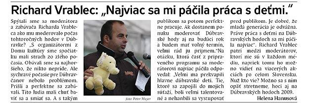Dúbravský Spravodajca/Október 2008: Najviac sa mi páčila práca s ďeťmi