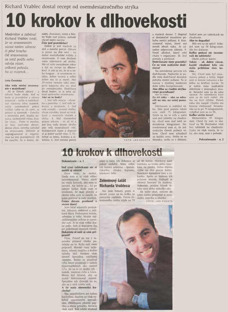 denník Pravda 6.apríla 2002: 10 krokov k dlhovekosti