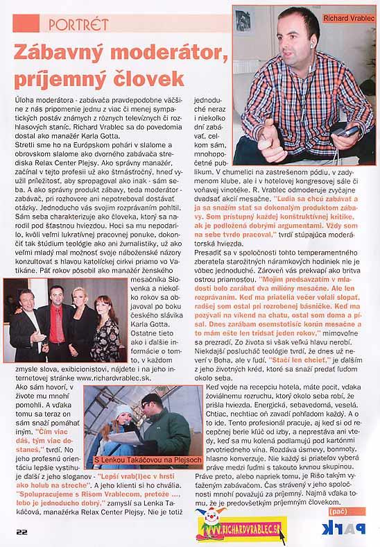 Časopis regiónu Spiš - PARK, apríl 2004: Zábavný moderátor, príjemný človek